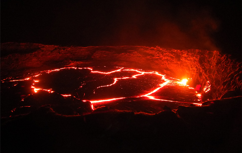 The Erta Ale volcano crater and its permanently boiling lava lake, one of the most beastly spectacles of nature.