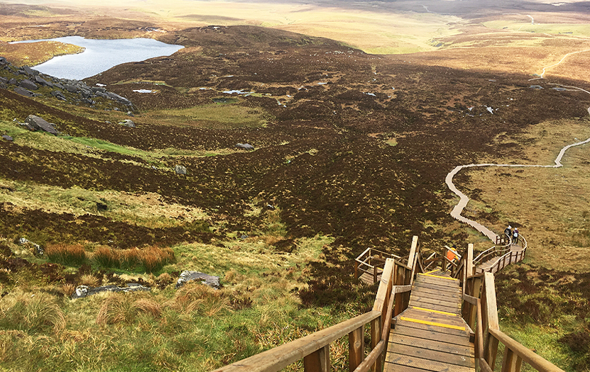 Stairway to Heaven, the favorite trail amidst the Cuilcagh Mountain, right between the two Irelands.