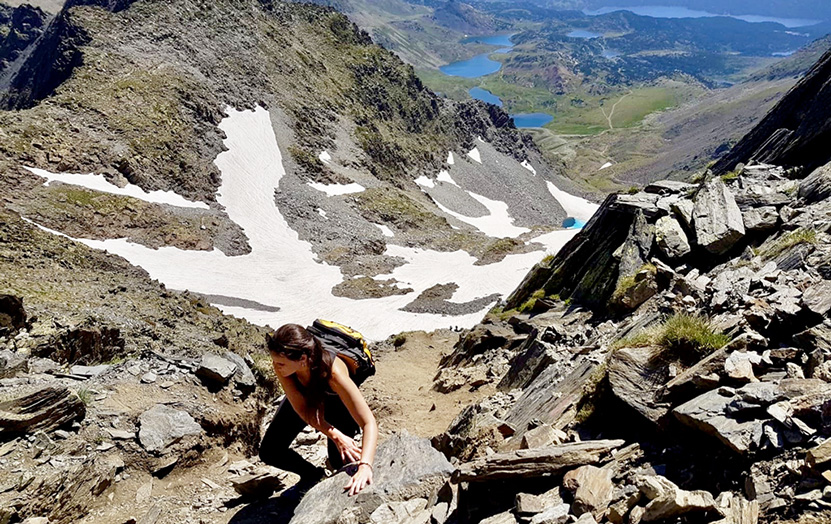 The last climb of the Carlit, with views of the twelve lakes that surround it.