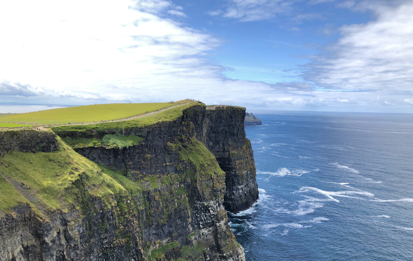 View of O'Brien's Tower, one of the main attractions along the Cliffs of Moher route.