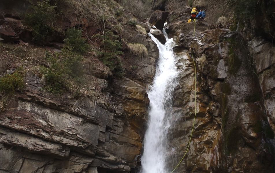 """Canyoneering down one of the waterfalls in the """"Doce Cascadas"""" Gorge, the best route from the town of Liri."""