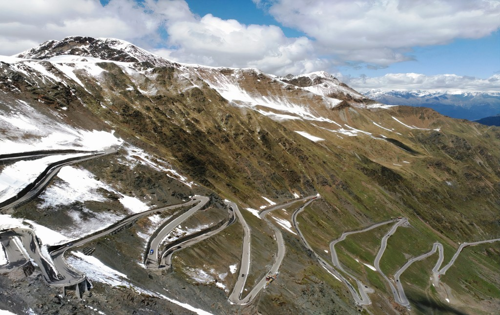 The famous winding road towards the Stelvio Pass, a cycling haven and well-known in the Giro d'Italia.