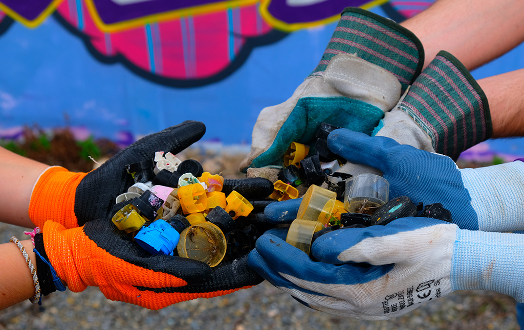 Plastic lids collected while plogging