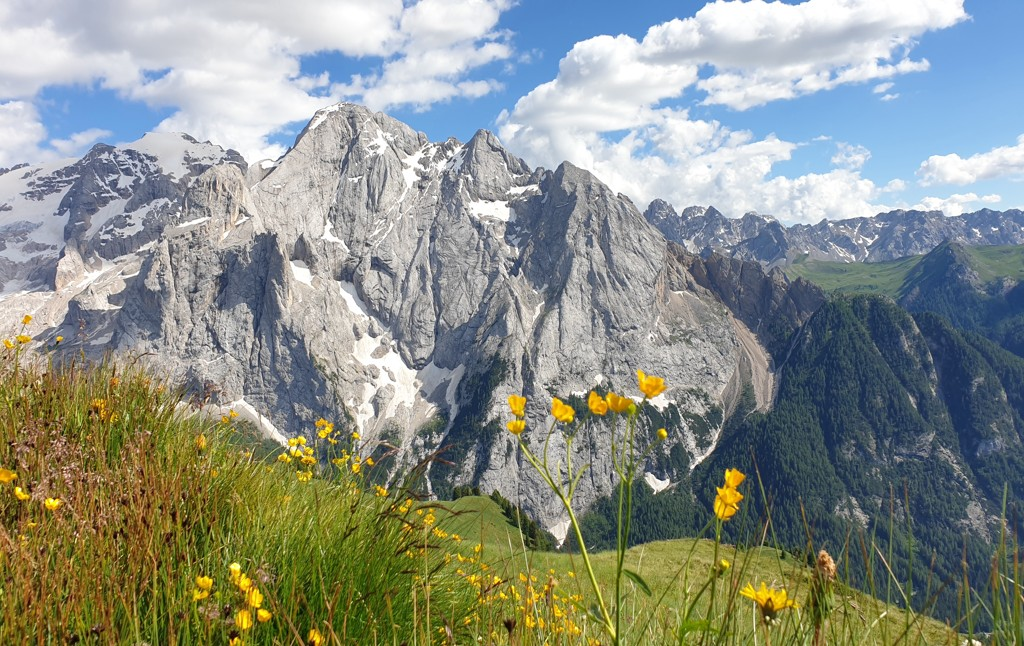 Views of the peaks from the Viel dal Pan Refuge in the Dolomites.