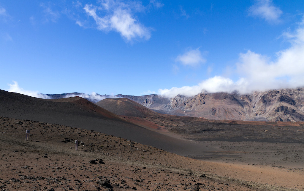 The Haleakala volcanic crater on the island of Maui, located in Hawaii.