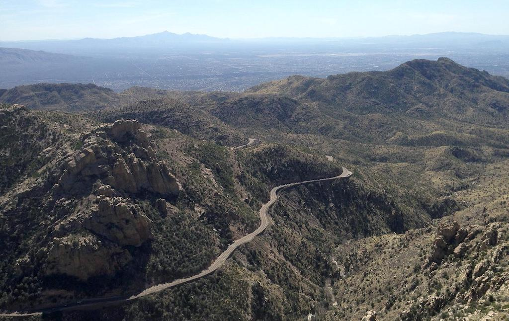 The Mt. Lemmon road joins the desert to a ski station.