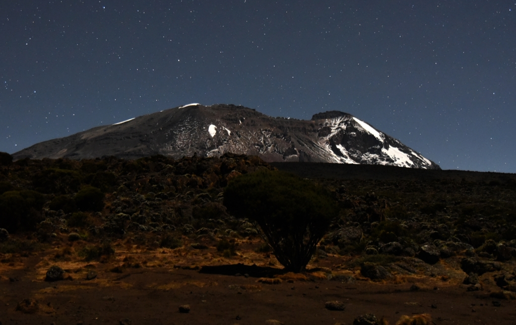The starry sky at the Shira II campsite, a crossing point with the Lemosho and Shira routes on the Kilimanjaro, one of the best places in the world to see the stars.