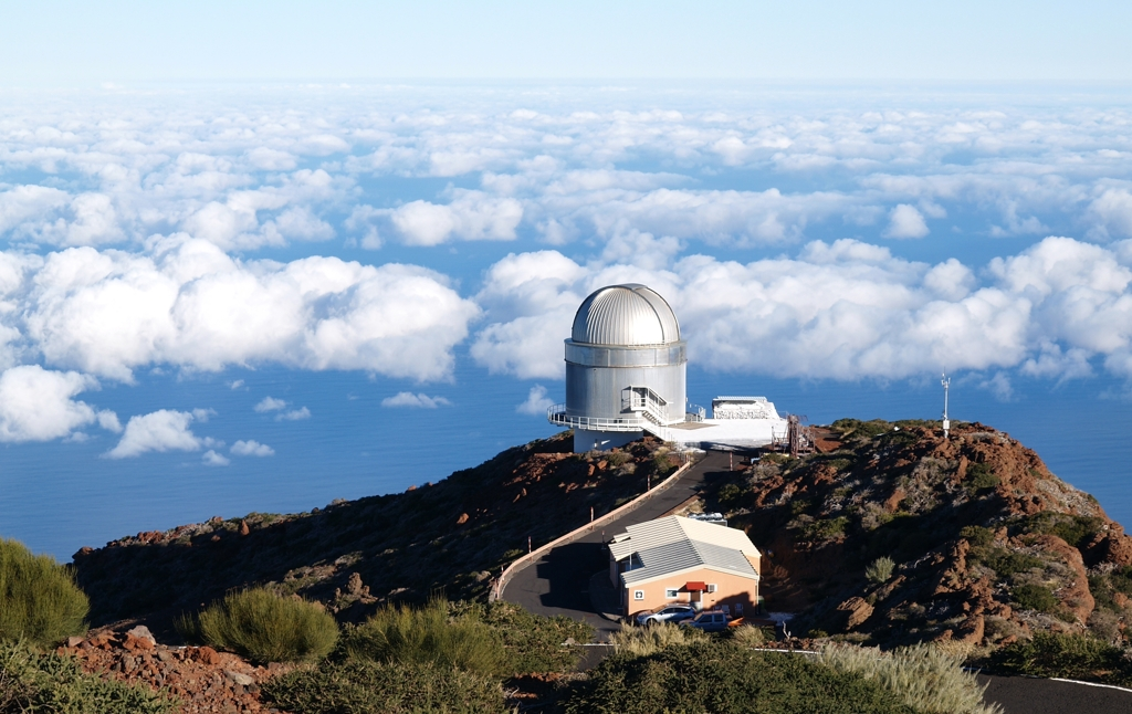 The astronomical observatory in Roque de los Muchachos, on the island of La Palma, above the sea of clouds.